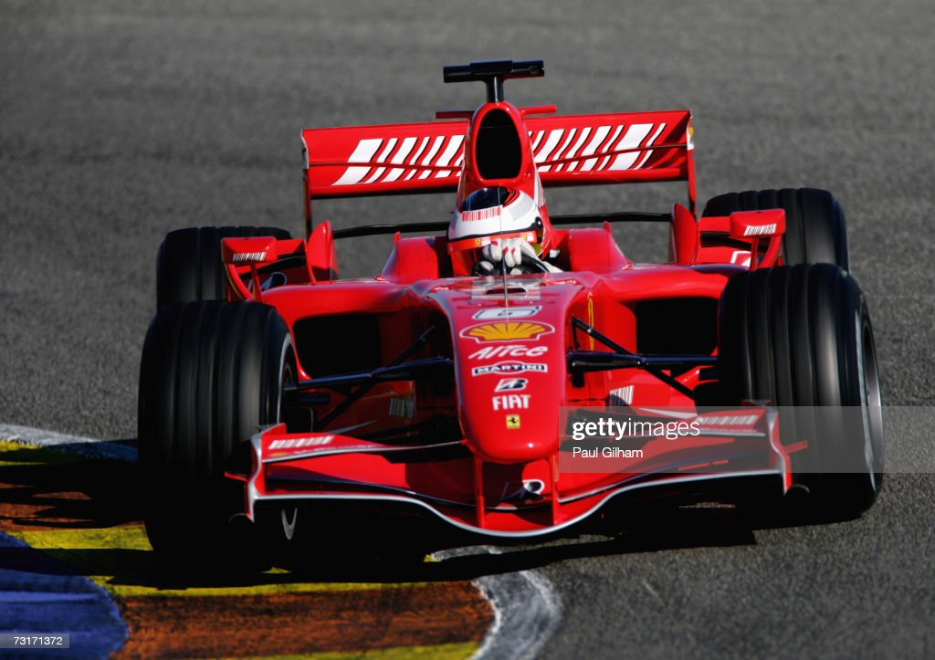 Kimi Raikkonen of Finland and Ferrari in action during Formula One testing at the Circuit Ricardo Tormo on February 1 2007 in Valencia Spain