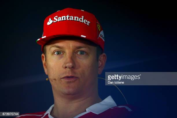 Kimi Raikkonen of Finland and Ferrari in the Drivers Press Conference during previews to the Formula One Grand Prix of Russia on April 27 2017 in...