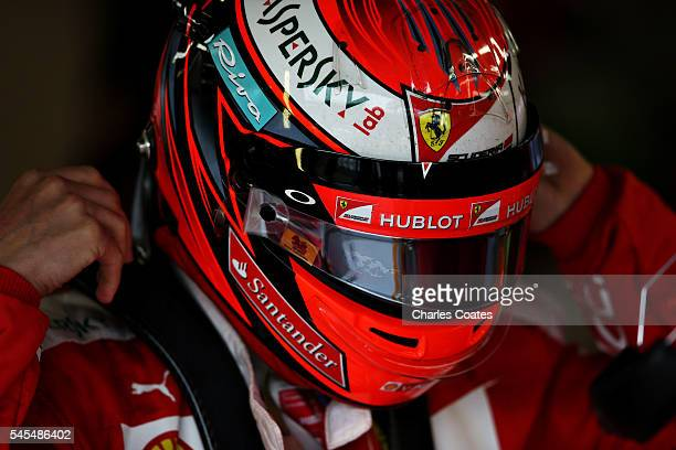 Kimi Raikkonen of Finland and Ferrari in the garage before practice for the Formula One Grand Prix of Great Britain at Silverstone on July 8 2016 in...