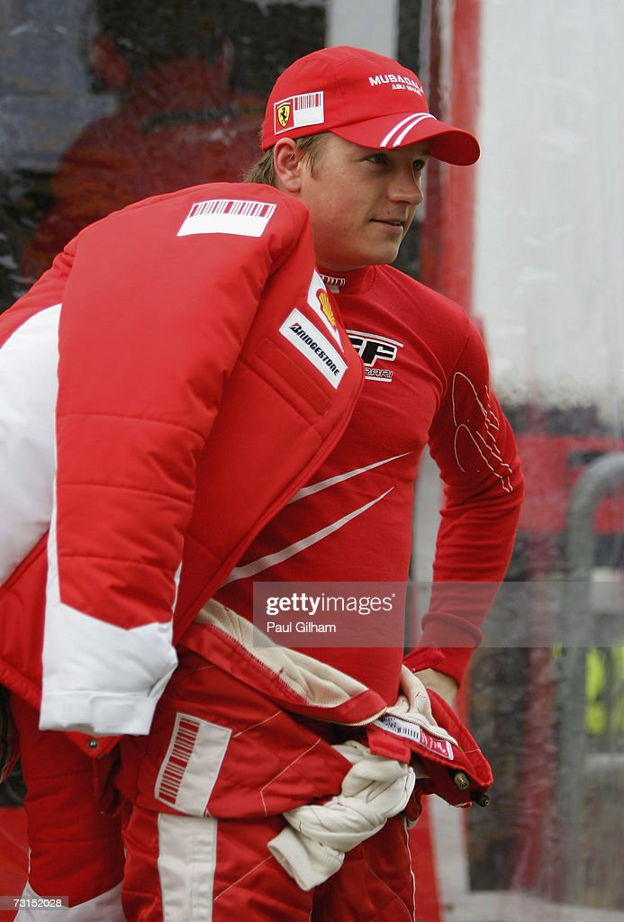 Kimi Raikkonen of Finland and Ferrari in the pitlane during Formula One testing at the Circuit Ricardo Tormo on January 30 2007 in Valencia Spain