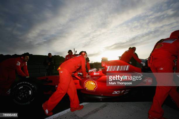 Kimi Raikkonen of Finland and Ferrari in the pits during Formula One Testing at the Circuito de Jerez racetrack on January 14 2008 in Jerez De La...
