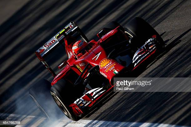 Kimi Raikkonen of Finland and Ferrari locks his wheels during Qualifying ahead of the F1 Grand Prix of Italy at Autodromo di Monza on September 6...
