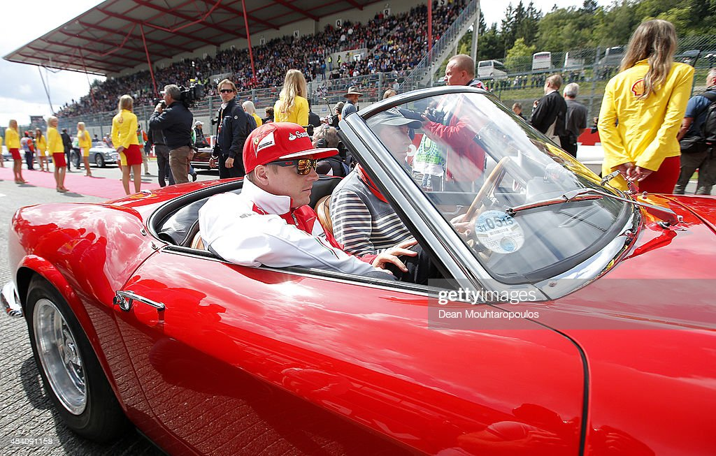 Kimi Raikkonen of Finland and Ferrari looks on during the drivers' parade before the Belgian Grand Prix at Circuit de Spa-Francorchamps on August 24, 2014 in Spa, Belgium.