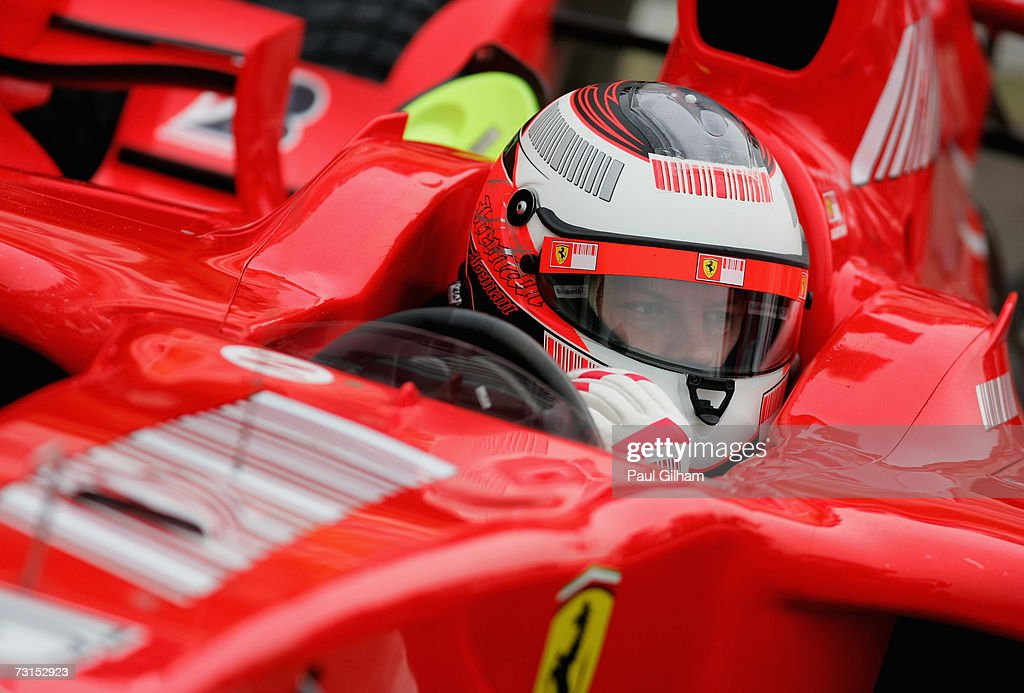 Kimi Raikkonen of Finland and Ferrari looks on from his cockpit during Formula One testing at the Circuit Ricardo Tormo on January 30 2007 in...