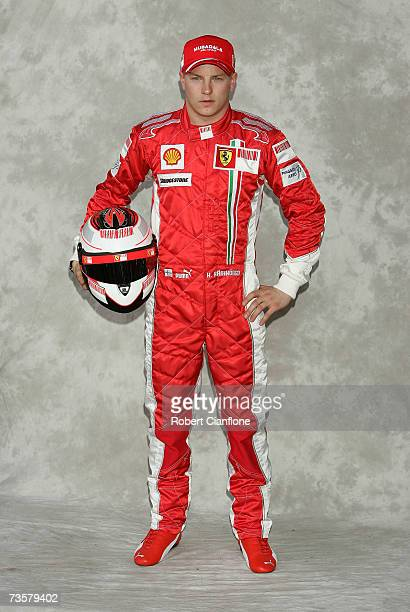 Kimi Raikkonen of Finland and Ferrari poses during the preseason drivers photocall ahead of the Australian Formula One Grand Prix at the Albert Park...