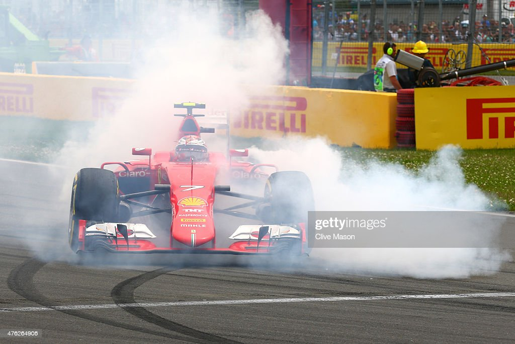 <a gi-track='captionPersonalityLinkClicked' href=/galleries/search?phrase=Kimi+Raikkonen&family=editorial&specificpeople=201904 ng-click='$event.stopPropagation()'>Kimi Raikkonen</a> of Finland and Ferrari spins off the track during the Canadian Formula One Grand Prix at Circuit Gilles Villeneuve on June 7, 2015 in Montreal, Canada.