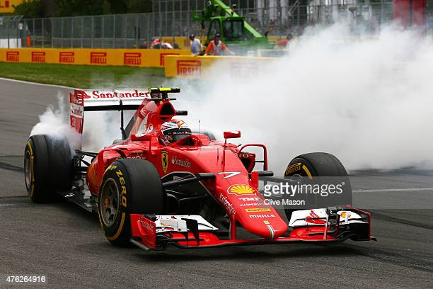 Kimi Raikkonen of Finland and Ferrari spins off the track during the Canadian Formula One Grand Prix at Circuit Gilles Villeneuve on June 7 2015 in...
