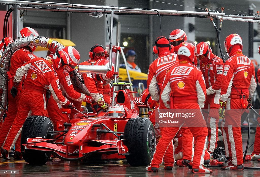 Kimi Raikkonen of Finland and Ferrari stops for a pitstop during the Japanese Formula One Grand Prix at the Fuji Speedway on September 30, 2007 in Shizuoka, Japan.