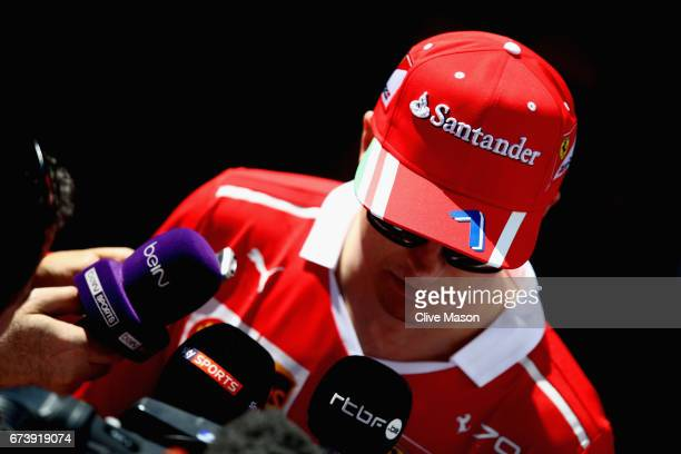 Kimi Raikkonen of Finland and Ferrari talks to the media during previews to the Formula One Grand Prix of Russia on April 27 2017 in Sochi Russia