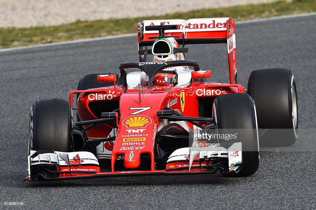 Kimi Raikkonen of Finland and Ferrari tests the new halo head protection system on track during day three of F1 winter testing at Circuit de Catalunya on March 3, 2016 in Montmelo, Spain.
