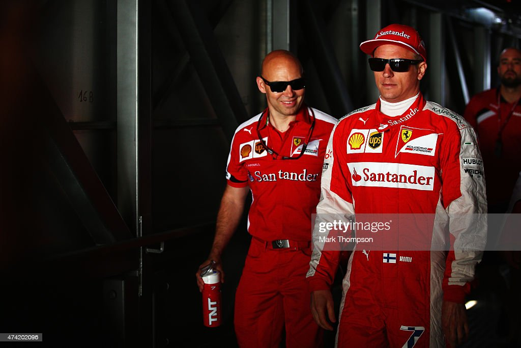 <a gi-track='captionPersonalityLinkClicked' href=/galleries/search?phrase=Kimi+Raikkonen&family=editorial&specificpeople=201904 ng-click='$event.stopPropagation()'>Kimi Raikkonen</a> of Finland and Ferrari walks to the pitlane during practice for the Monaco Formula One Grand Prix at Circuit de Monaco on May 21, 2015 in Monte-Carlo, Monaco.