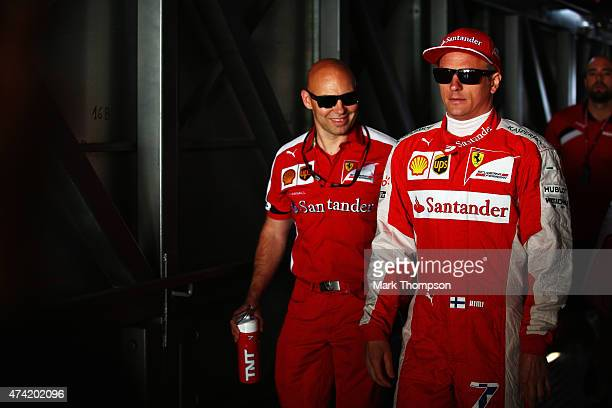 Kimi Raikkonen of Finland and Ferrari walks to the pitlane during practice for the Monaco Formula One Grand Prix at Circuit de Monaco on May 21 2015...