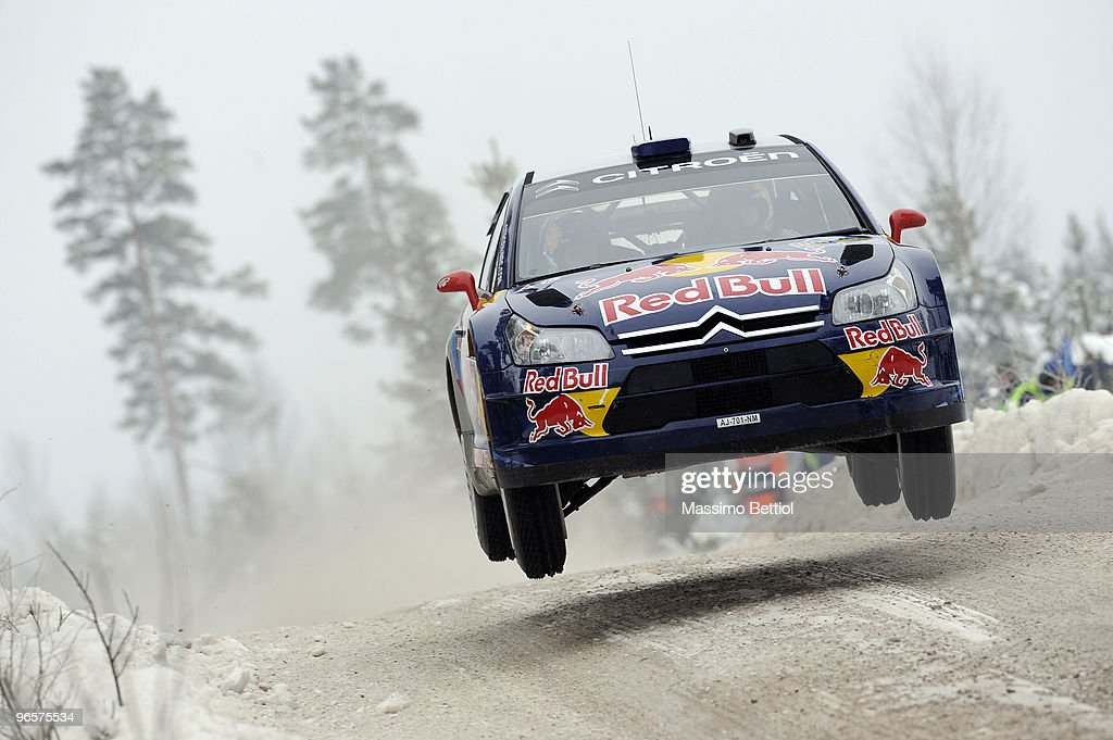 Kimi Raikkonen of Finland and Kaj Lindstrom of Finland compete in their Citroen C4 Junior Team during the Shakedown of the WRC Rally Sweden on...