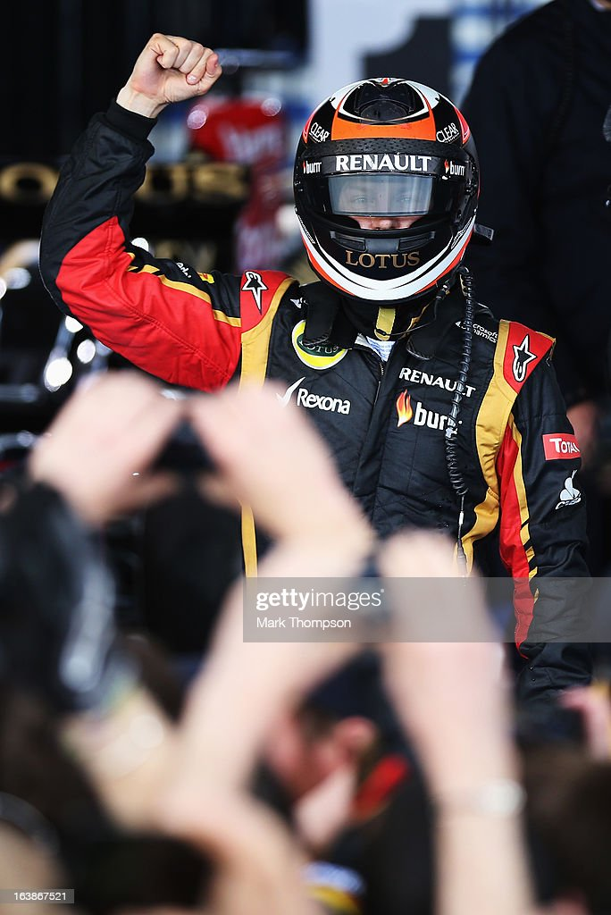Kimi Raikkonen of Finland and Lotus celebrates in parc ferme after winning the Australian Formula One Grand Prix at the Albert Park Circuit on March 17, 2013 in Melbourne, Australia.