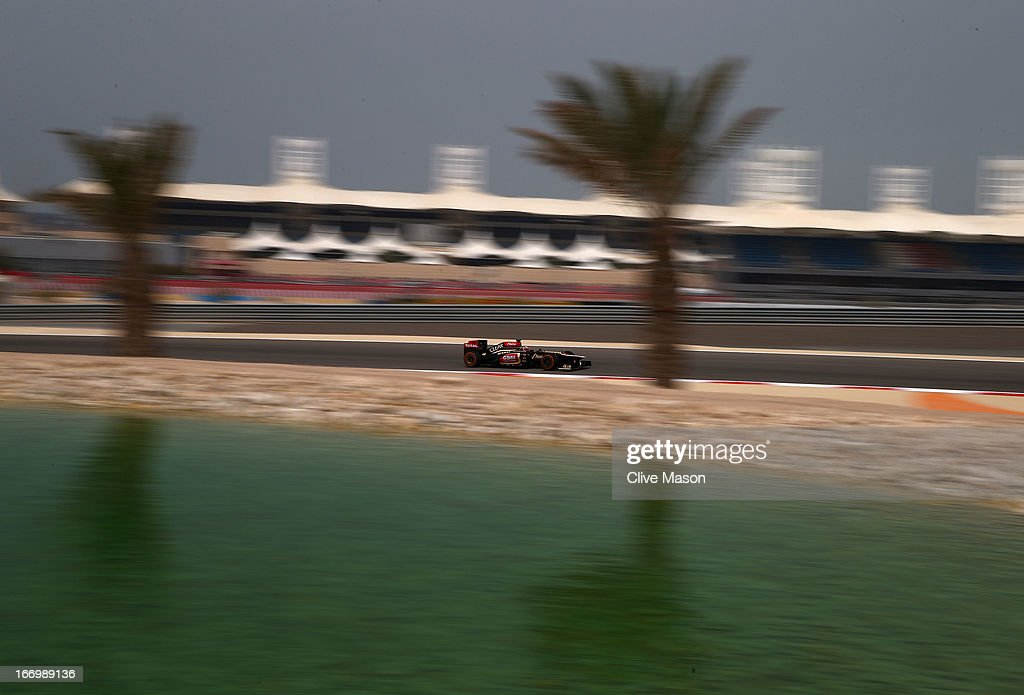 <a gi-track='captionPersonalityLinkClicked' href=/galleries/search?phrase=Kimi+Raikkonen&family=editorial&specificpeople=201904 ng-click='$event.stopPropagation()'>Kimi Raikkonen</a> of Finland and Lotus drives during practice for the Bahrain Formula One Grand Prix at the Bahrain International Circuit on April 19, 2013 in Sakhir, Bahrain.