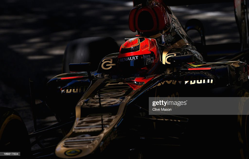 <a gi-track='captionPersonalityLinkClicked' href=/galleries/search?phrase=Kimi+Raikkonen&family=editorial&specificpeople=201904 ng-click='$event.stopPropagation()'>Kimi Raikkonen</a> of Finland and Lotus drives during practice for the Monaco Formula One Grand Prix at the Circuit de Monaco on May 23, 2013 in Monte-Carlo, Monaco.