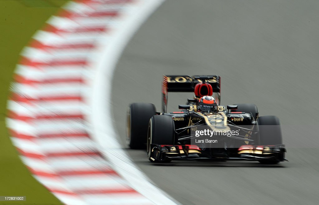 Kimi Raikkonen of Finland and Lotus drives during practice for the German Grand Prix at the Nuerburgring on July 5, 2013 in Nuerburg, Germany.