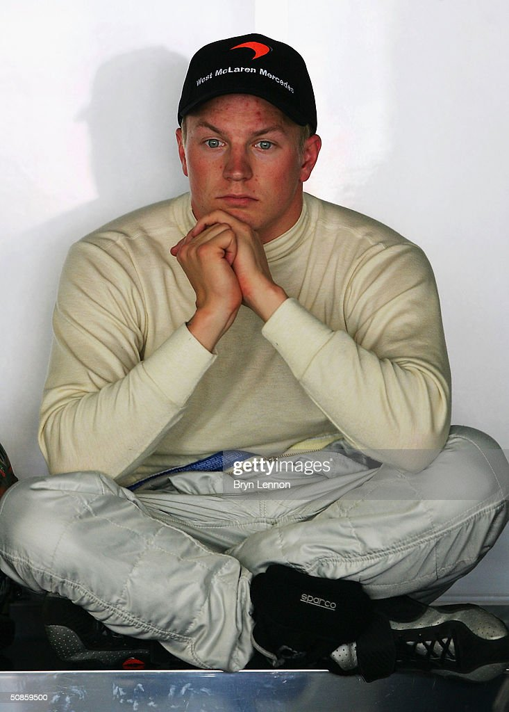 Kimi Raikkonen of Finland and McLaren sits at the back of the garage during practice for the Monaco F1 Grand Prix on May 20, 2004, in Monte Carlo, Monaco.