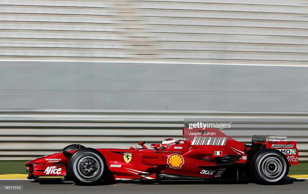 Kimi Raikkonen of Finland and team Ferrari during Formula one testing at the Ricardo Tormo racetrack on January 23, 2008, in Cheste near Valencia, Spain.