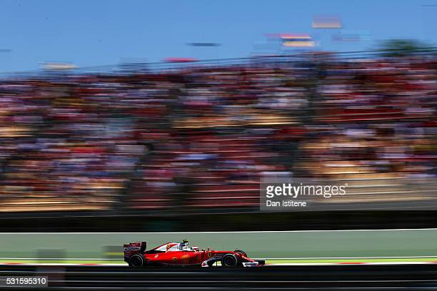 Kimi Raikkonen of Finland drives the Scuderia Ferrari SF16H Ferrari 059/5 turbo during the Spanish Formula One Grand Prix at Circuit de Catalunya on...