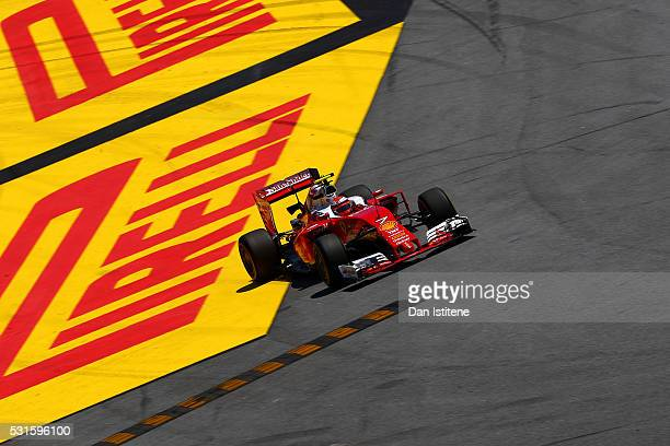 Kimi Raikkonen of Finland drives the Scuderia Ferrari SF16H Ferrari 059/5 turbo off the track during the Spanish Formula One Grand Prix at Circuit de...