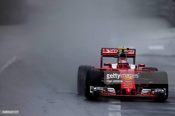 Kimi Raikkonen of Finland drives the Scuderia Ferrari SF16H Ferrari 059/5 turbo during the Monaco Formula One Grand Prix at Circuit de Monaco on May...