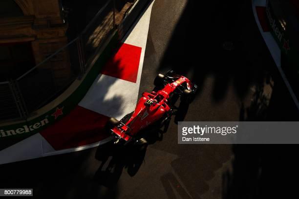 Kimi Raikkonen of Finland drives the Scuderia Ferrari SF70H during the Azerbaijan Formula One Grand Prix at Baku City Circuit on June 25 2017 in Baku...