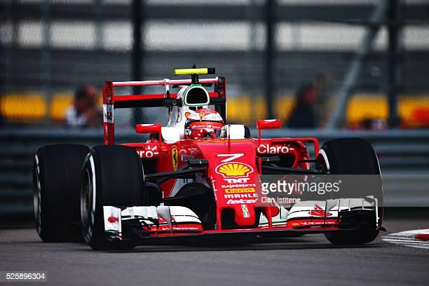Kimi Raikkonen of Finland driving the Scuderia Ferrari SF16H Ferrari 059/5 turbo on track during practice for the Formula One Grand Prix of Russia at...