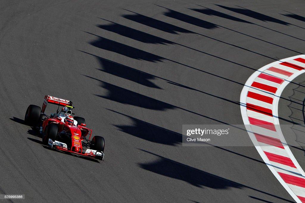 Kimi Raikkonen of Finland driving the (7) Scuderia Ferrari SF16-H Ferrari 059/5 turbo (Shell GP) on track during practice for the Formula One Grand Prix of Russia at Sochi Autodrom on April 29, 2016 in Sochi, Russia.