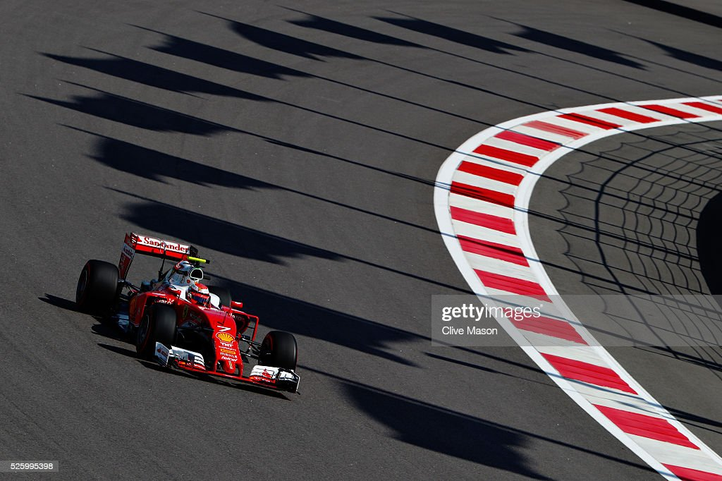 <a gi-track='captionPersonalityLinkClicked' href=/galleries/search?phrase=Kimi+Raikkonen&family=editorial&specificpeople=201904 ng-click='$event.stopPropagation()'>Kimi Raikkonen</a> of Finland driving the (7) Scuderia Ferrari SF16-H Ferrari 059/5 turbo (Shell GP) on track during practice for the Formula One Grand Prix of Russia at Sochi Autodrom on April 29, 2016 in Sochi, Russia.