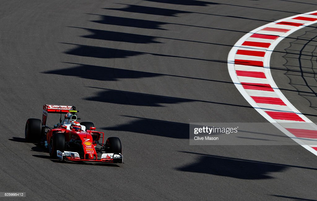 Kimi Raikkonen of Finland driving the (7) Scuderia Ferrari SF16-H Ferrari 059/5 turbo (Shell GP) on track during practice for the Formula One Grand Prix of Russia at Sochi Autodrom on April 29, 2016 in Sochi, Russia.