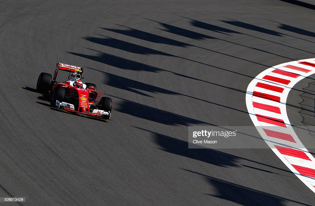 <a gi-track='captionPersonalityLinkClicked' href=/galleries/search?phrase=Kimi+Raikkonen&family=editorial&specificpeople=201904 ng-click='$event.stopPropagation()'>Kimi Raikkonen</a> of Finland driving the (7) Scuderia Ferrari SF16-H Ferrari 059/5 turbo (Shell GP) on track during practice for the Formula One Grand Prix of Russia at Sochi Autodrom on April 29, 2016 in Sochi, Russia.