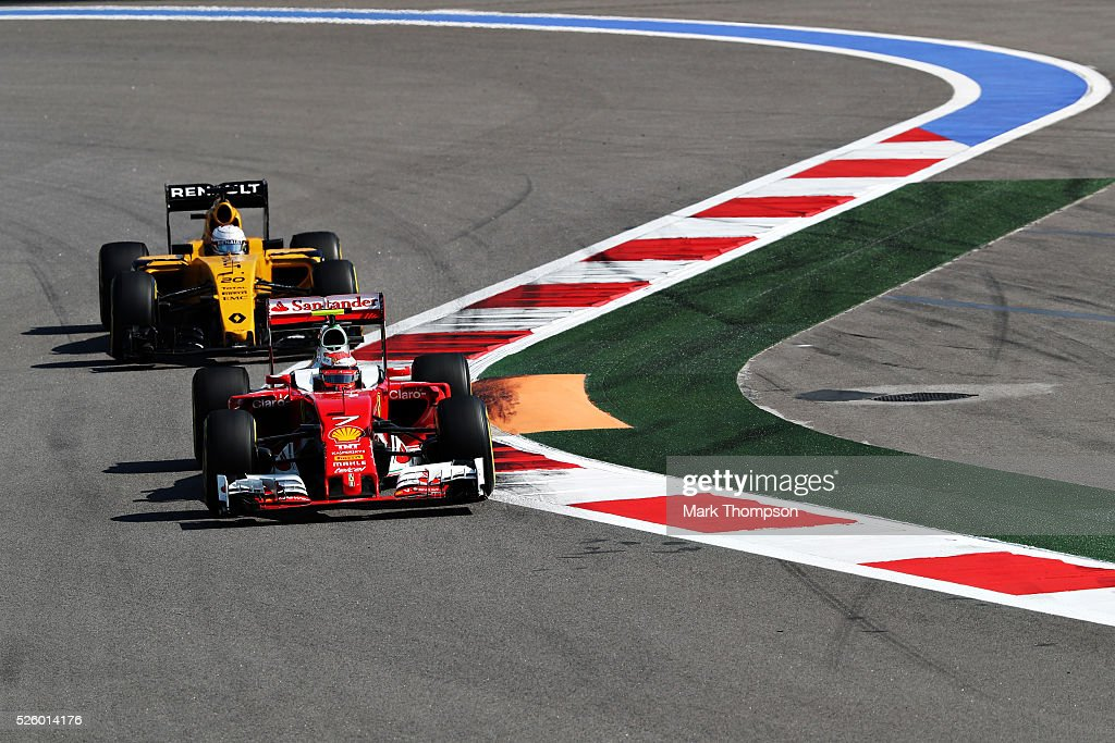 <a gi-track='captionPersonalityLinkClicked' href=/galleries/search?phrase=Kimi+Raikkonen&family=editorial&specificpeople=201904 ng-click='$event.stopPropagation()'>Kimi Raikkonen</a> of Finland driving the (7) Scuderia Ferrari SF16-H Ferrari 059/5 turbo (Shell GP) on track ahead of <a gi-track='captionPersonalityLinkClicked' href=/galleries/search?phrase=Kevin+Magnussen&family=editorial&specificpeople=7882003 ng-click='$event.stopPropagation()'>Kevin Magnussen</a> of Denmark driving the (20) Renault Sport Formula One Team Renault RS16 Renault RE16 turbo during practice for the Formula One Grand Prix of Russia at Sochi Autodrom on April 29, 2016 in Sochi, Russia.