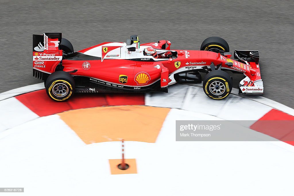 Kimi Raikkonen of Finland driving the (7) Scuderia Ferrari SF16-H Ferrari 059/5 turbo (Shell GP) on track during final practice ahead of the Formula One Grand Prix of Russia at Sochi Autodrom on April 30, 2016 in Sochi, Russia.
