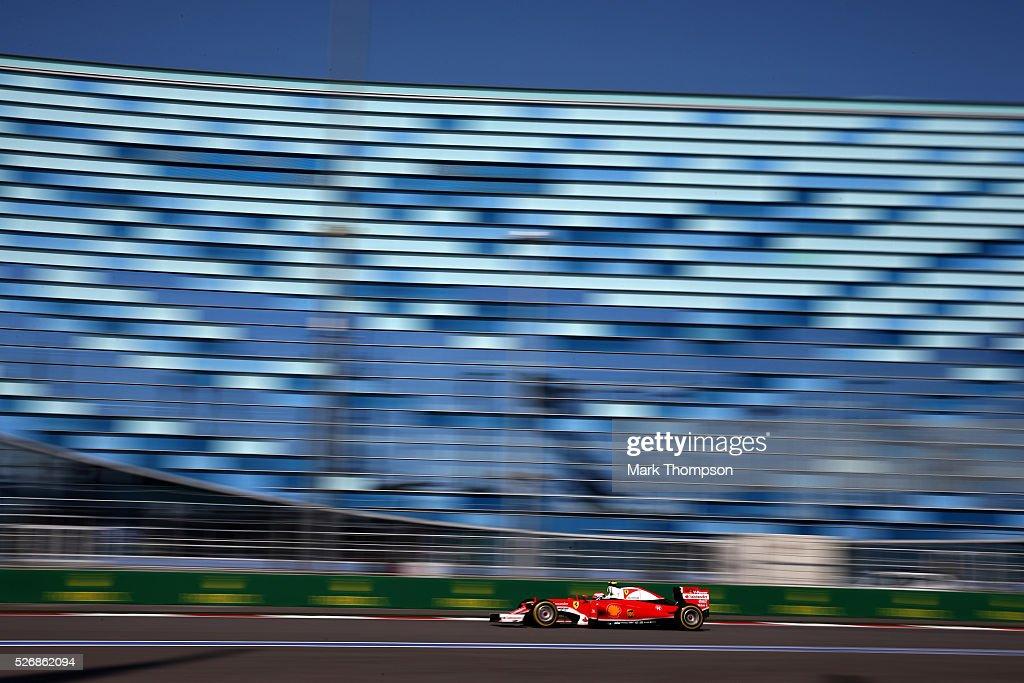 <a gi-track='captionPersonalityLinkClicked' href=/galleries/search?phrase=Kimi+Raikkonen&family=editorial&specificpeople=201904 ng-click='$event.stopPropagation()'>Kimi Raikkonen</a> of Finland driving the (7) Scuderia Ferrari SF16-H Ferrari 059/5 turbo (Shell GP) on track during the Formula One Grand Prix of Russia at Sochi Autodrom on May 1, 2016 in Sochi, Russia.