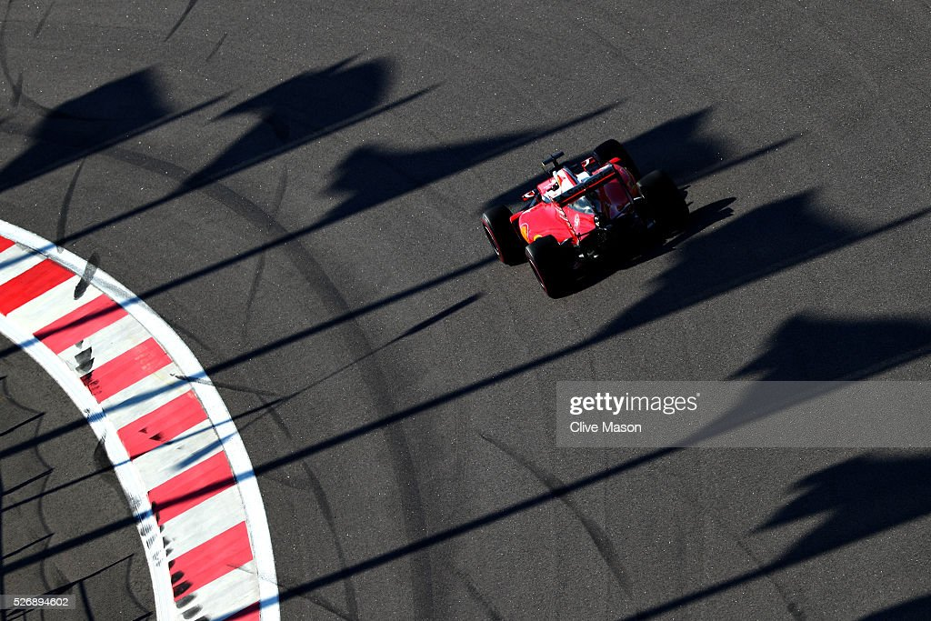 <a gi-track='captionPersonalityLinkClicked' href=/galleries/search?phrase=Kimi+Raikkonen&family=editorial&specificpeople=201904 ng-click='$event.stopPropagation()'>Kimi Raikkonen</a> of Finland driving the (7) Scuderia Ferrari SF16-H Ferrari 059/5 turbo (Shell GP) on track during the Formula One Grand Prix of Russia at Sochi Autodrom on May 1, 2016 in Sochi, Russia.