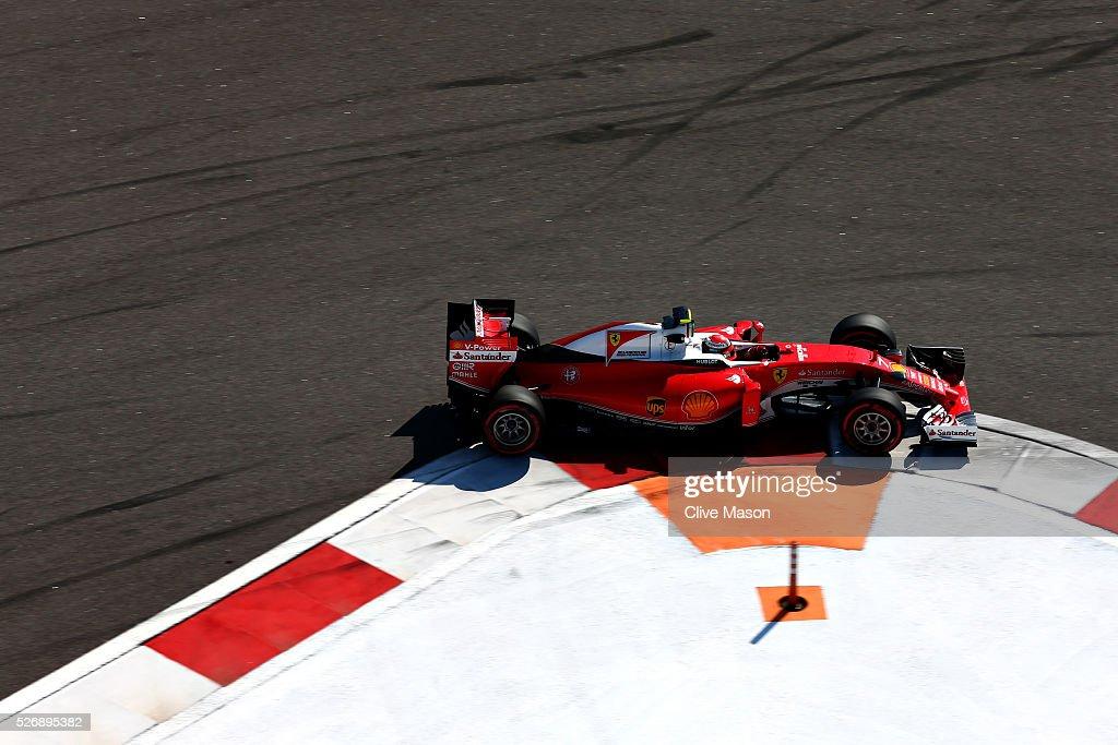 Kimi Raikkonen of Finland driving the (7) Scuderia Ferrari SF16-H Ferrari 059/5 turbo (Shell GP) on track during the Formula One Grand Prix of Russia at Sochi Autodrom on May 1, 2016 in Sochi, Russia.