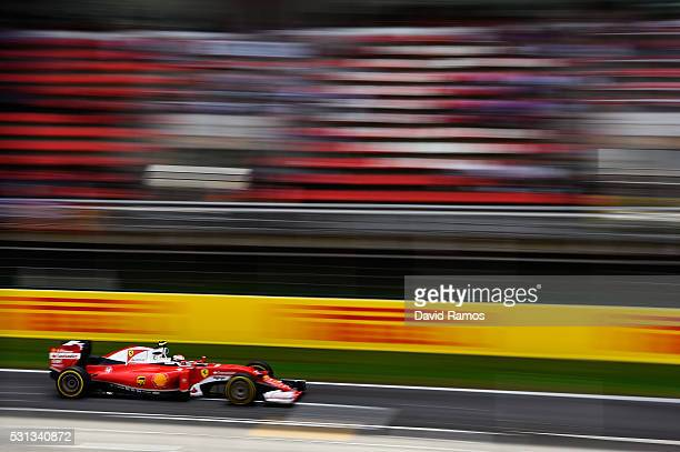 Kimi Raikkonen of Finland driving the Scuderia Ferrari SF16H Ferrari 059/5 turbo on track during final practice ahead of the Spanish Formula One...