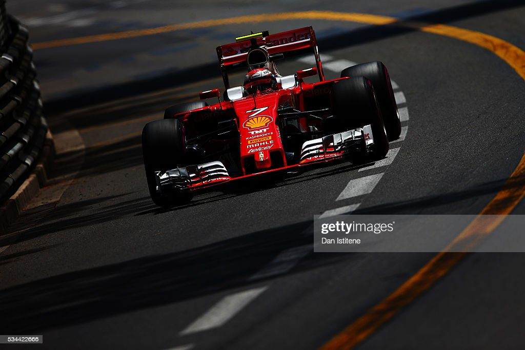 <a gi-track='captionPersonalityLinkClicked' href=/galleries/search?phrase=Kimi+Raikkonen&family=editorial&specificpeople=201904 ng-click='$event.stopPropagation()'>Kimi Raikkonen</a> of Finland driving the (7) Scuderia Ferrari SF16-H Ferrari 059/5 turbo (Shell GP) on track during practice for the Monaco Formula One Grand Prix at Circuit de Monaco on May 26, 2016 in Monte-Carlo, Monaco.