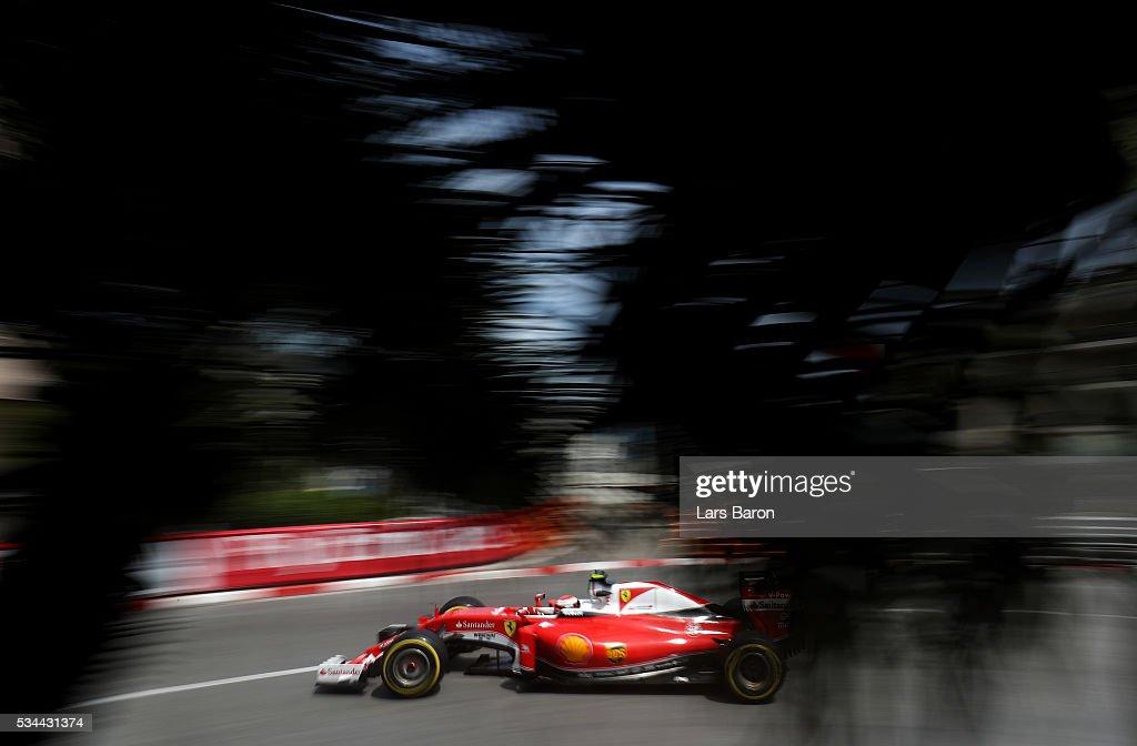 <a gi-track='captionPersonalityLinkClicked' href=/galleries/search?phrase=Kimi+Raikkonen&family=editorial&specificpeople=201904 ng-click='$event.stopPropagation()'>Kimi Raikkonen</a> of Finland driving the (7) Scuderia Ferrari SF16-H Ferrari 059/5 turbo (Shell GP) on track during practice for the Monaco Formula One Grand Prix at Circuit de Monaco on May 26, 2016 in Monte-Carlo, Monaco.