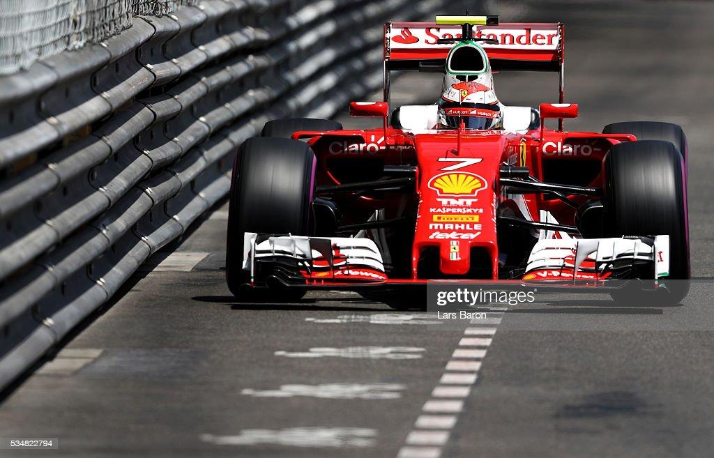 Kimi Raikkonen of Finland driving the (7) Scuderia Ferrari SF16-H Ferrari 059/5 turbo (Shell GP) on track during qualifying for the Monaco Formula One Grand Prix at Circuit de Monaco on May 28, 2016 in Monte-Carlo, Monaco.