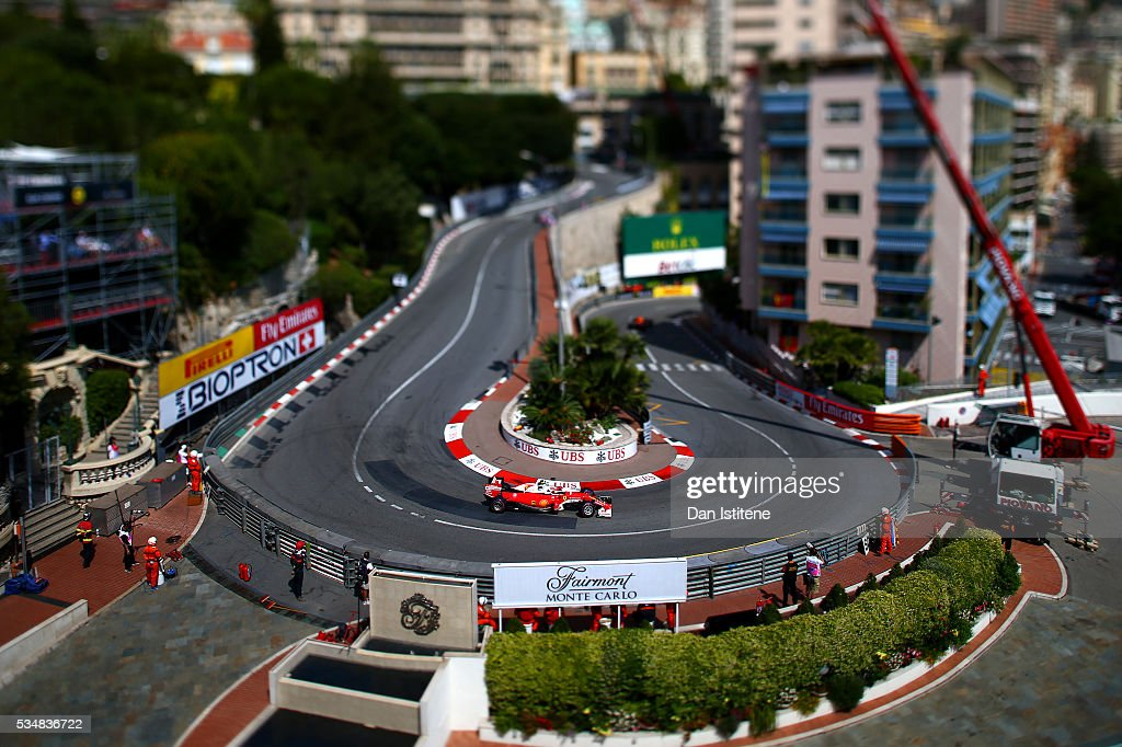 Kimi Raikkonen of Finland driving the (7) Scuderia Ferrari SF16-H Ferrari 059/5 turbo (Shell GP) on track during final practice ahead of the Monaco Formula One Grand Prix at Circuit de Monaco on May 28, 2016 in Monte-Carlo, Monaco.