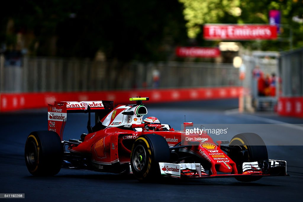 <a gi-track='captionPersonalityLinkClicked' href=/galleries/search?phrase=Kimi+Raikkonen&family=editorial&specificpeople=201904 ng-click='$event.stopPropagation()'>Kimi Raikkonen</a> of Finland driving the (7) Scuderia Ferrari SF16-H Ferrari 059/5 turbo (Shell GP) on track during the European Formula One Grand Prix at Baku City Circuit on June 19, 2016 in Baku, Azerbaijan.