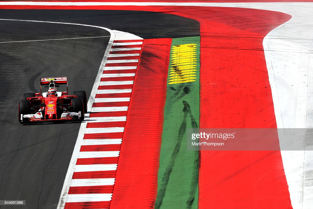 Kimi Raikkonen of Finland driving the (7) Scuderia Ferrari SF16-H Ferrari 059/5 turbo (Shell GP) on track during practice for the Formula One Grand Prix of Austria at Red Bull Ring on July 1, 2016 in Spielberg, Austria.