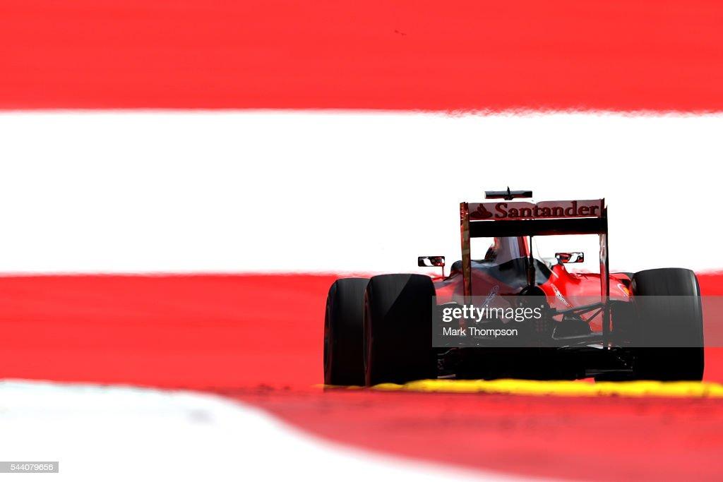 Kimi Raikkonen of Finland driving the (7) Scuderia Ferrari SF16-H Ferrari 059/5 turbo (Shell GP) on track during practice for the Formula One Grand Prix of Austria at Red Bull Ring on July 1, 2016 in Spielberg, Austria.