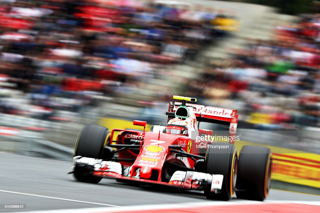 Kimi Raikkonen of Finland driving the Scuderia Ferrari SF16H Ferrari 059/5 turbo on track during the Formula One Grand Prix of Austria at Red Bull...