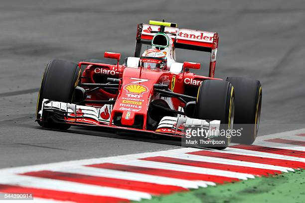 Kimi Raikkonen of Finland driving the Scuderia Ferrari SF16H Ferrari 059/5 turbo on track during the Formula One Grand Prix of Austria at Red Bull...