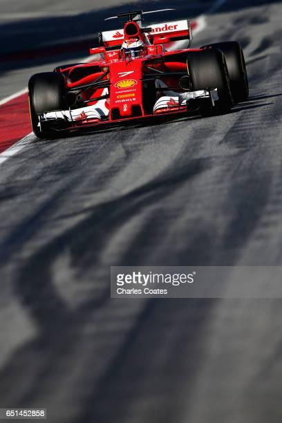 Kimi Raikkonen of Finland driving the Scuderia Ferrari SF70H in the Pitlane during the final day of Formula One winter testing at Circuit de...