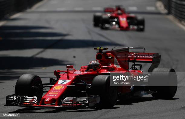 Kimi Raikkonen of Finland driving the Scuderia Ferrari SF70H in action during the Monaco Formula One Grand Prix at Circuit de Monaco on May 28 2017...