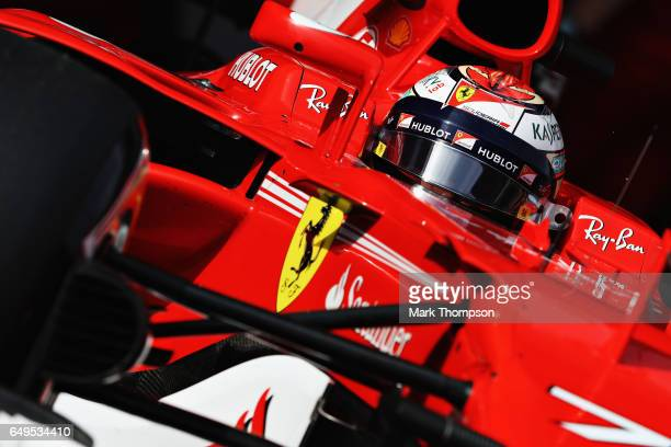 Kimi Raikkonen of Finland driving the Scuderia Ferrari SF70H leaves the pits during day two of Formula One winter testing at Circuit de Catalunya on...